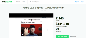 Screencap of for the love of spock kickstarter